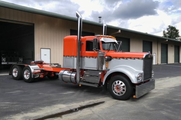 An orange and silver truck