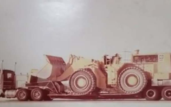 A bulldozer being transported