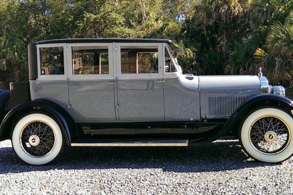 A gray vintage car