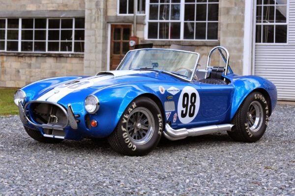 A blue classic race car