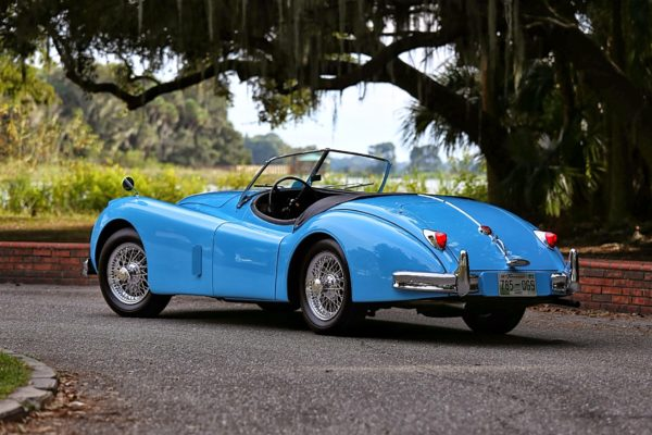 A blue classic sports car