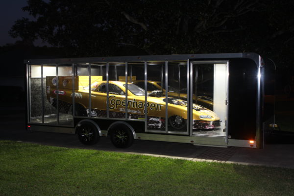A race car in it's trailer